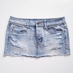 American Eagle Distressed Denim Mini Skirt